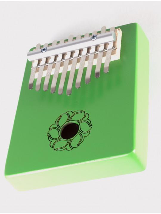 Калимба 10 нот резонаторная Мозеръ KMKr-2-GR Escudo, форма трапеция, зеленая