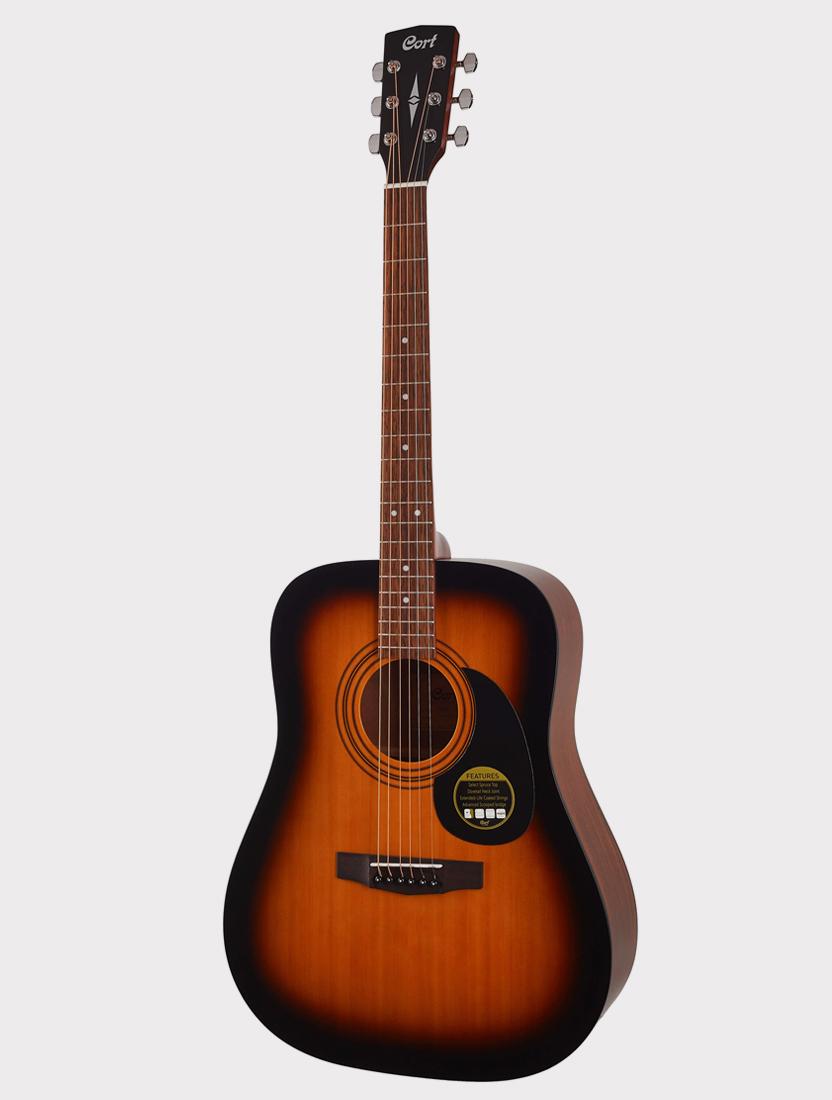 Акустическая гитара Cort AD810-SSB Standard Series, оранжево-черный санберст