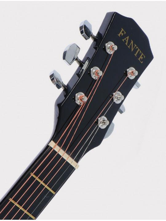 Акустическая гитара Fante FT-D38-BK, черная, с вырезом