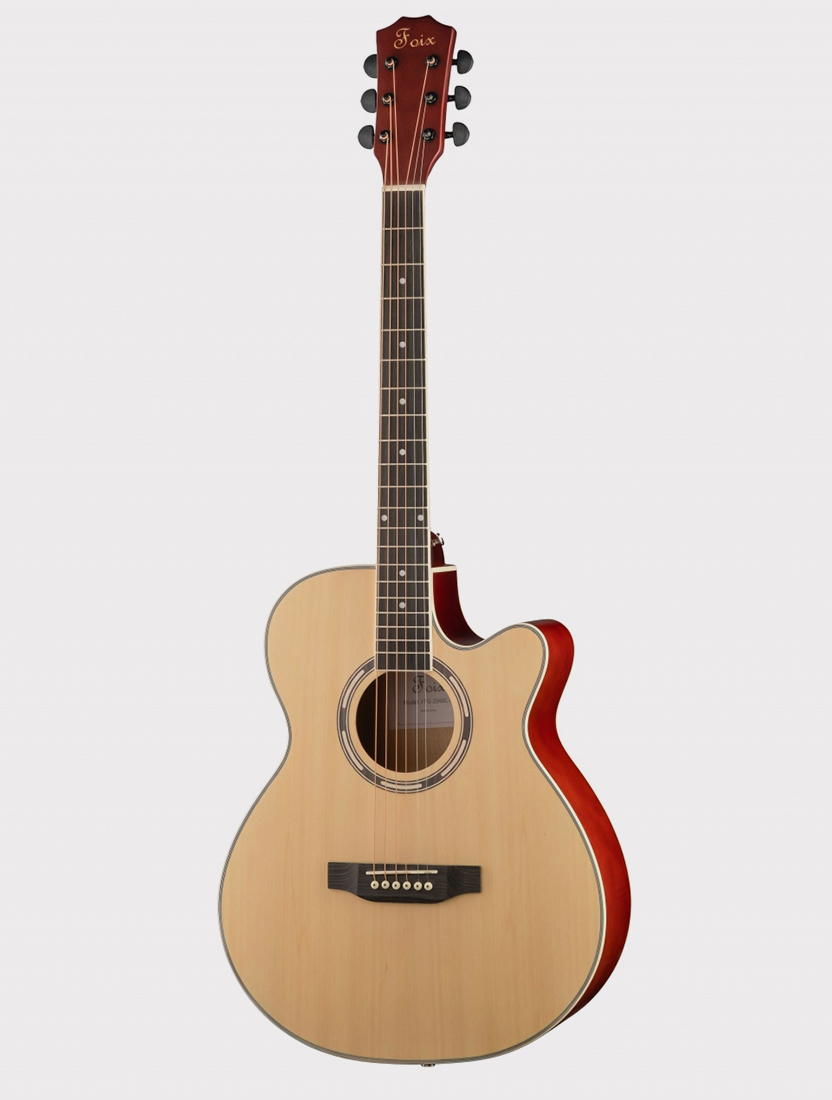 Акустическая гитара Foix FFG-2040C-NA с вырезом, натурально-бежевая