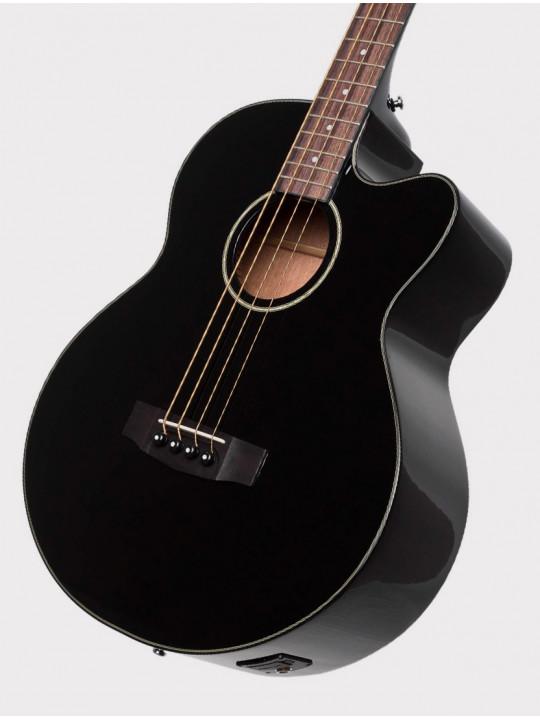Электроакустическая бас-гитара Cort AB850F-BK-BAG с вырезом, черная, с чехлом