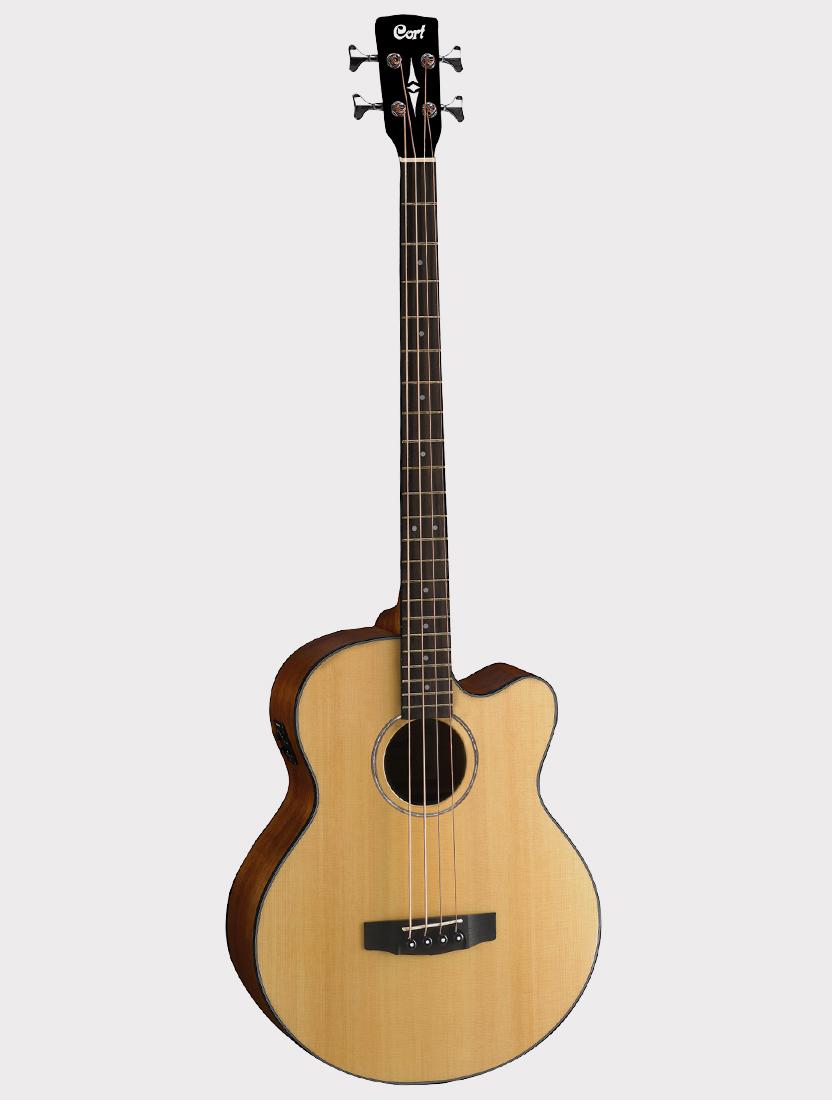 Электроакустическая бас-гитара Cort AB850F-NAT-BAG с вырезом, цвет натуральный