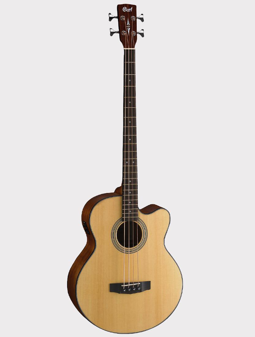 Электроакустическая бас-гитара Cort SJB5F-NS с вырезом, цвет натуральный, с чехлом Acoustic Bass Series