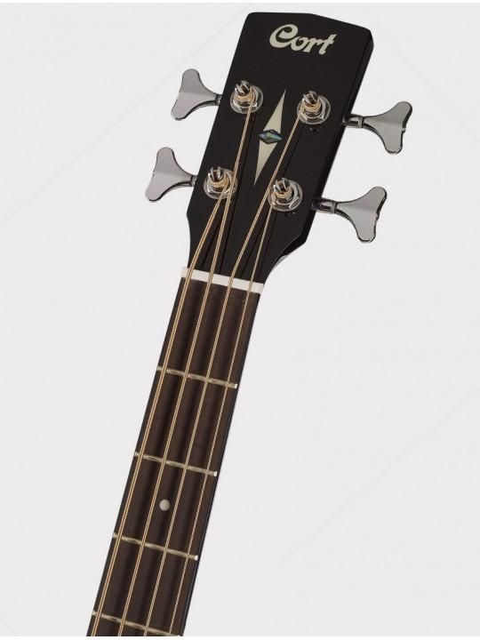 Электроакустическая бас-гитара Cort SJB5F-BK черная, с чехлом Acoustic Bass Series