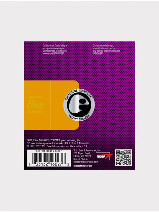 Струны для акустической гитары Elixir 16027 толщина 11-52